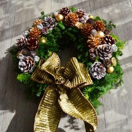 杉とヒバのクリスマスリース 「ゴールドリボン」