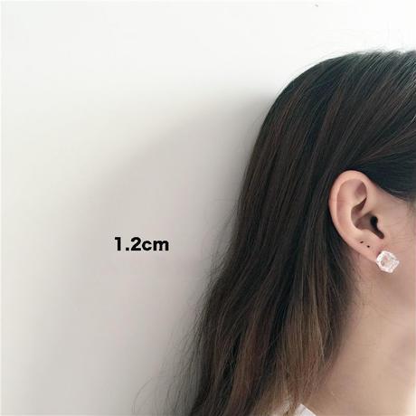 【即納】立方体アクリル 片耳ピアス 両サイズ レディース クールセクシー