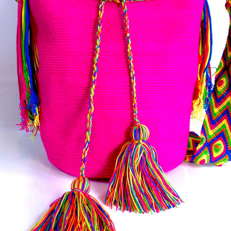 Wayuu Mochila Bag pink solid Colombia ワユー バッグ ピンク wy-0002