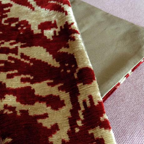 クッションカバー 柘榴 ウズベキスタン 約33.5 x 35.5cm ベルベットイカット pome velvet ikat cushion cover uzbekistan vi-0012