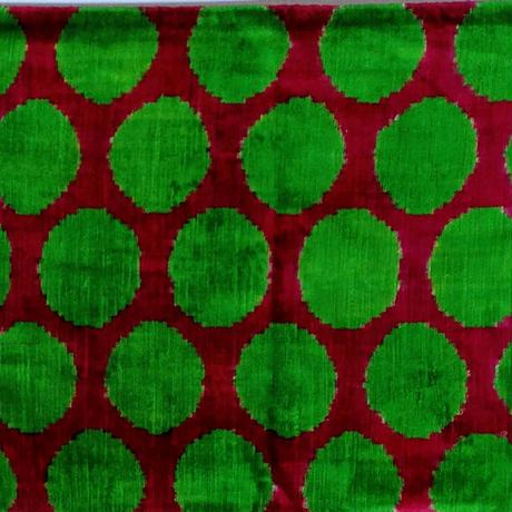 クッションカバー 緑玉 ウズベキスタン 約38 x 50.5cm ベルベットイカット green polka velvet ikat cushion cover uzbekistan vi-0013