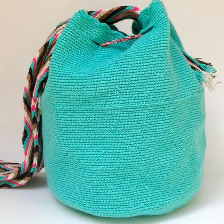 Wayuu Mochila Bag turquoise Colombia ワユー バッグ ターコイズwy-0012