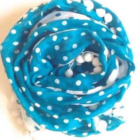ぽんぽんガーゼスカーフブルーグリーン トルコ pom pom gauze scarf turkey blue-green sf-0005