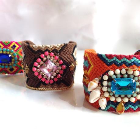 Wayuu Mochira Bracelet brown pink stone Colombia ワユー モチーラ ブレスレット wb-0003