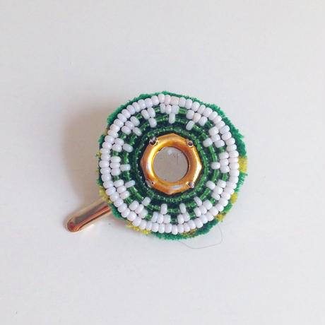 ビーズメダリオン ヘアアクセ アフガニスタン 緑星 Afghanistan beaded medalion hair accessory HC-0001