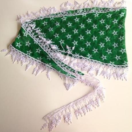 オヤ付星柄スカーフ トルコ green star scarf with oya turkey sf-0007