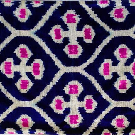 クッションカバー 紺十字 ウズベキスタン 約40 x 59.5cm ベルベットイカット dark blue velvet ikat cushion cover uzbekistan vi-0018