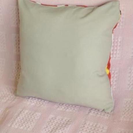 クッションカバー オレンジ ウズベキスタン約39 x 39cmシルクイカット orange silk ikat cushion cover uzbekistan si-0005