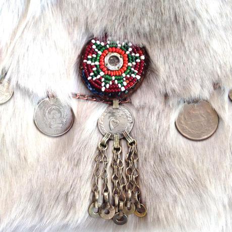 トライバル エコファー クラッチバッグ Afghanistan beaded medalion and Iranian coins FC-0001