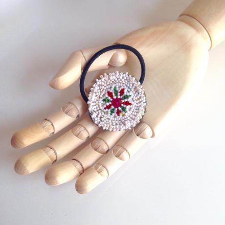 ビーズメダリオン ヘアアクセ アフガニスタン 白 Afghanistan beaded medalion hair accessory HG-0001