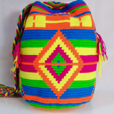 Wayuu Mochila Bag vibrant diamond Colombia ワユー バッグ ネオンカラー wy-0005