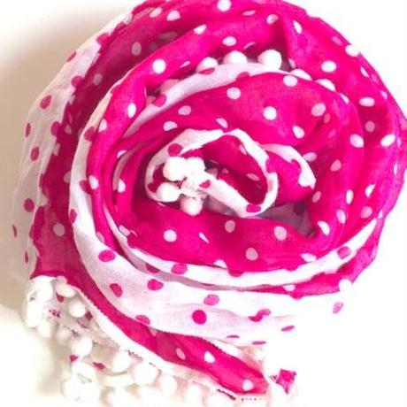 ぽんぽんガーゼスカーフピンク トルコ pom pom gauze scarf pink turkey sf-0004