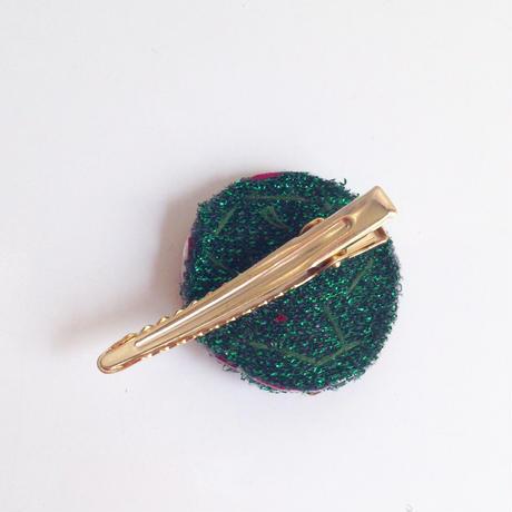 ビーズメダリオン ヘアアクセ アフガニスタン 緑赤花 Afghanistan beaded medalion hair accessory HC-0003
