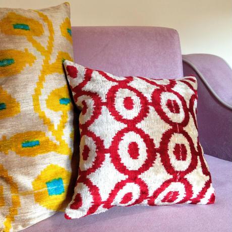 【訳あり】クッションカバー ナザールボンジュゥ ウズベキスタン 約40 x 40cm ベルベットイカット velvet ikat cushion cover uzbekistan vi-0011