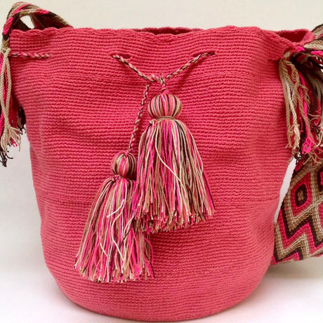 Wayuu Mochila Bag salmon pink Colombia ワユー バッグ サーモンピンクwy-0011