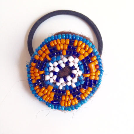 ビーズメダリオン ヘアアクセ アフガニスタン 紺星青Afghanistan beaded medalion hair accessory HG-0005