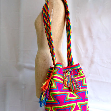 Wayuu Mochila Bag pink weight Colombia ワユー バッグ ピンクwy-0001