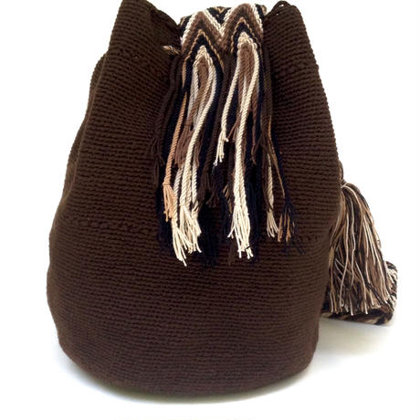 Wayuu Mochila Bag bitter chocolate Colombia ワユー バッグ ビターチョコレートwy-0009