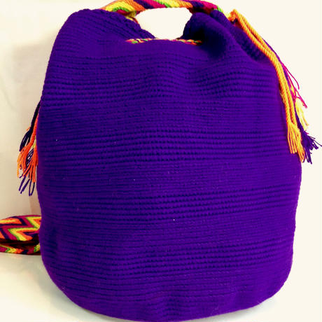 Wayuu Mochila Bag purple solid Colombia ワユー バッグ パープル wy-0004