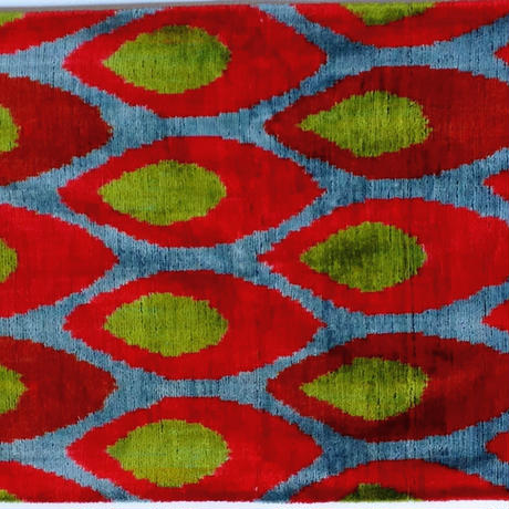 【訳あり】クッションカバー 炎 ウズベキスタン 約39.5 x 59.5cm ベルベットイカット flame velvet ikat cushion cover uzbekistan vi-0015