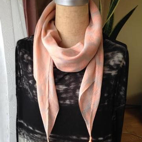 タッセル付フェザー柄スカーフ トルコ orange feather gray scarf with tassels turkey sf-0006