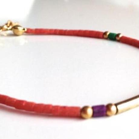 ビーズブレスレット/アンクレット コーラルピンク トルコ coral pink beads bracelet turkey bb-0002