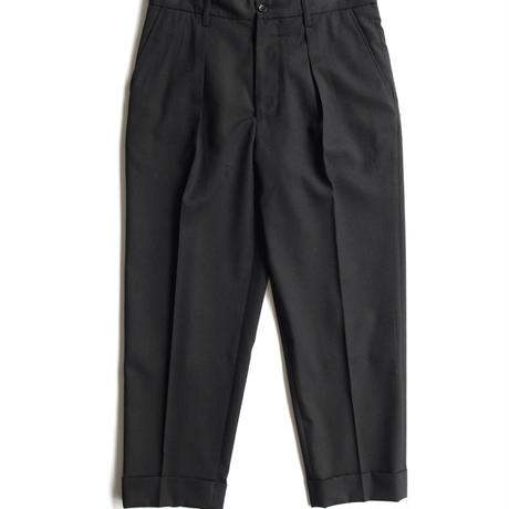 GABARDINE PLEATED CROP TROUSERS