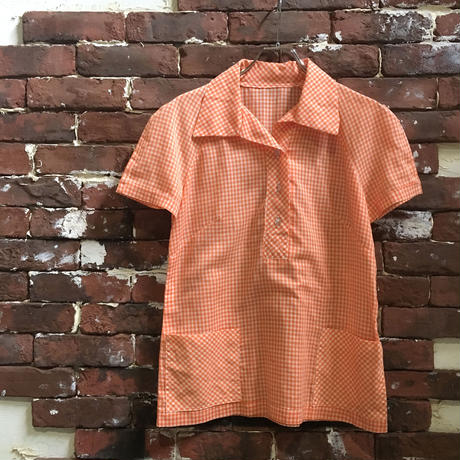 VINTAGE LADIES GINGHAM CHECK PULLOVER BLOUSE
