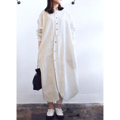 Vlas Blomme  /  Cotton Stripe ロングシャツワンピース