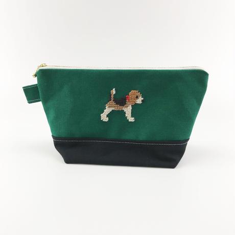 ビーグル刺繍 台形ポーチ 大サイズ ネイビーx深緑