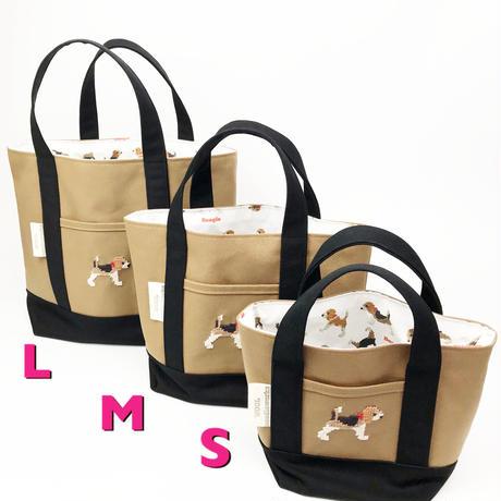ビーグル刺繍 キャンバストートバッグ Lサイズ