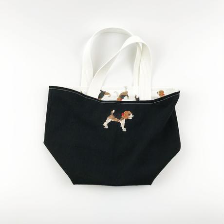 ビーグル刺繍 お散歩トートバッグ 黒xビーグルプリント