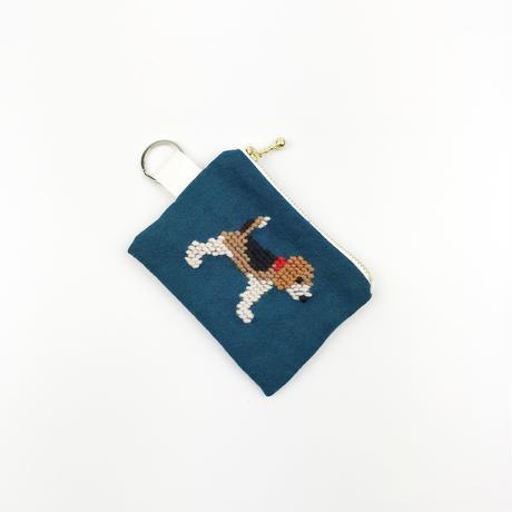 ビーグル刺繍 コインケース 青緑