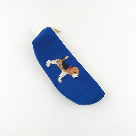 ビーグル刺繍 ペンケース ブルー