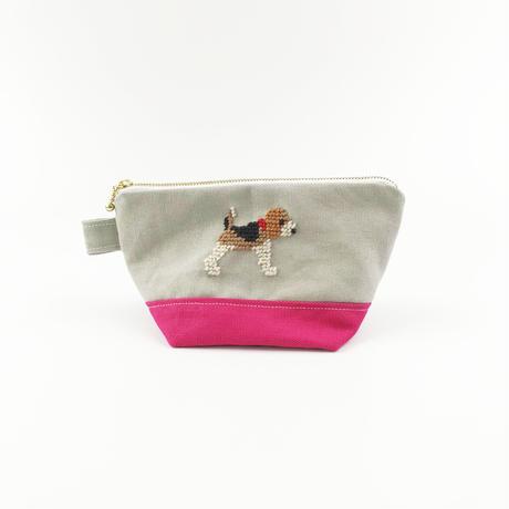 ビーグル刺繍 台形ポーチ 小サイズ ピンクxライトグレー