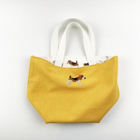 ビーグル刺繍 お散歩トートバッグ イエローxビーグルプリント