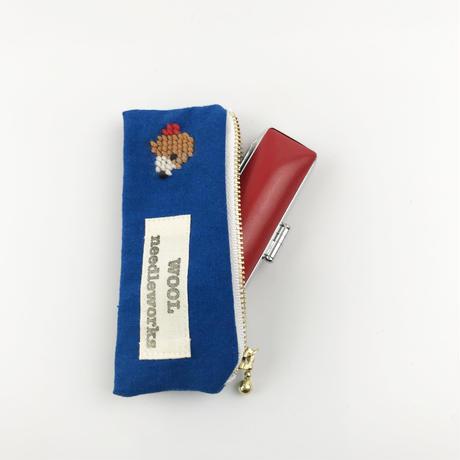 ビーグル刺繍 印鑑ポーチ ブルー