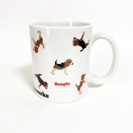 ビーグル刺繍プリント マグカップ