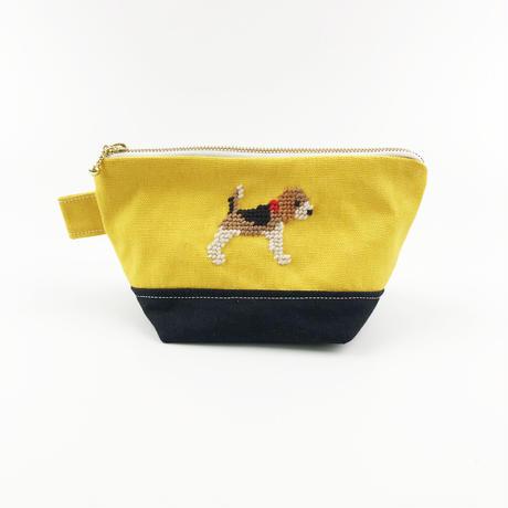 ビーグル刺繍 台形ポーチ 小サイズ ネイビーxイエロー