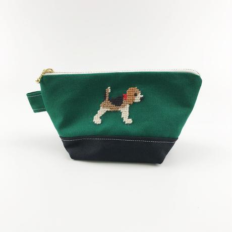 ビーグル刺繍 台形ポーチ 小サイズ ネイビーx深緑