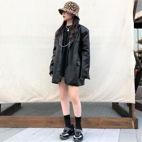 [ Unisex ]Leather Oversize Jacket