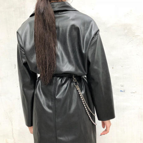 Leather Long  Jacket