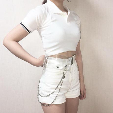 Cropped Polo Shirt White