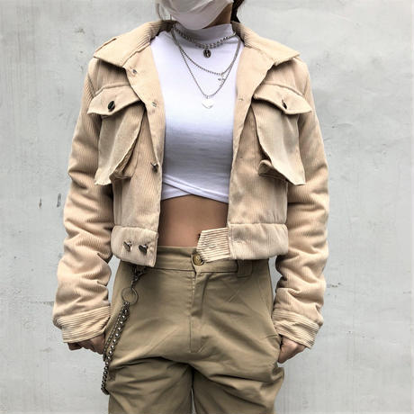 Corduroy Cropped Jacket(2colours)