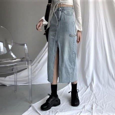 Cutting Denim Long Skirt