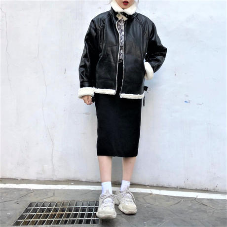 Leather Shearling Jacket (black)