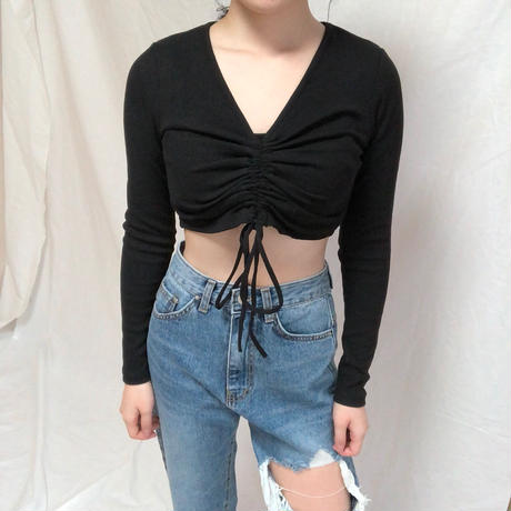 String Crop Tee(2colours)