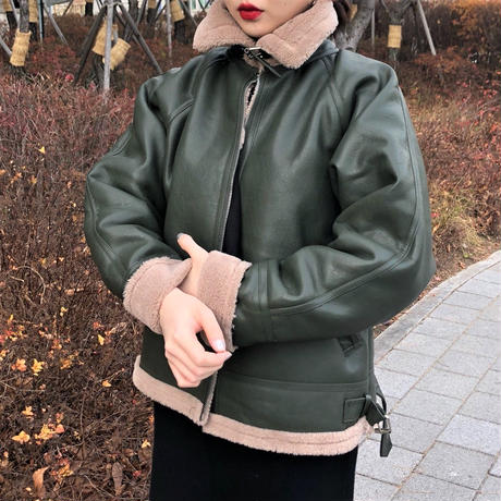 Leather Shearling Jacket (khaki)