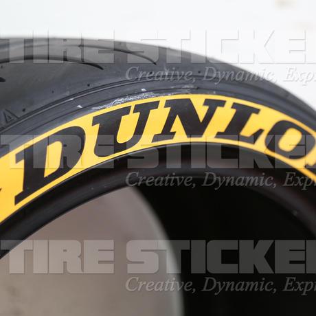 4枚【DUNLOP タイヤステッカー ラバータイプ イエロー】