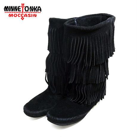 MINNETONKA ミネトンカ 3段フリンジ モカシンブーツ ブラック